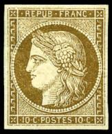 N°1b, 10 C. Bistre Verdâtre, Aminci Sinon Bel Aspect (rare En Neuf) - 1849-1850 Ceres