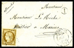 N°1, 10 C. Bistre-jaune, Oblitéré PC Sur Devant De Lettre Avec Càd Type 14 De Marines (72), TB - 1849-1850 Ceres