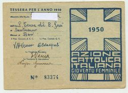 Santeramo In Colle (Bari) 1950 - Tessera Azione Cattolica Italiana/Gioventù Femminile - Documents Historiques