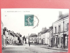 37 ,manthelan ,la Place En 1910....vue Peu Courante - France