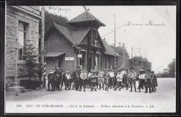CPA 88 - Col De La Schlucht, écoliers Alsaciens à La Frontière - LL - Francia