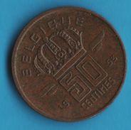 BELGIQUE 50 CENTIMES 1953 Type Mineur  KM# 144 BELGIQUE - 01. 20 Centimes