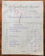 PARIS 1920 CRISTALLERIES DE BACCARAT  INTERESSANTE FATTURA - Francia
