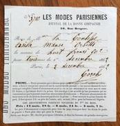 LES MODES PARISIENNES  JOURNAL DE LA BONNE COMPAGNIE RICEVUTA DEL 1862 CONTESSA ERSILIA MANSI ORSETTI - Francia