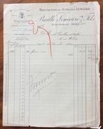 PARIS 1920 BAILLE LEMAIRE & F. MANUFACTURE DE JUMELLES LEMAIRE   FATTURA  ORIGINALE D'EPOCA - Francia