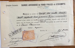 BELGIO ANVERSA 1912 BANCA BANQUE ANVERSOISE DE FONDS PUBLICS ER D'ESCOMPTE  - DOCUMENTO CON MARCHE DA BOLLO - 1900 – 1949