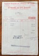 PARIS 1919 GRAND BAZAR DEL L'HOTEL DE LILLE  FATTURA ORIGINLE D'EPOCA - Francia