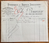 PARIS 1919 FABRIQUE DE BIJOUX IMITATTION  CH.BOURCIER   FATTURA ORIGINLE D'EPOCA - 1900 – 1949