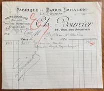 PARIS 1919 FABRIQUE DE BIJOUX IMITATTION  CH.BOURCIER   FATTURA ORIGINLE D'EPOCA - Francia