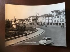 CASTELFRANCO VENETO - Piazza Giorgione, Animata, Auto FIAT - Cartolina FG BN V 1960 - Italia
