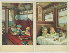 Enfants Lisant Dans Le Train. Enfants Au Wagon Restaurant. - Bertiglia, A.