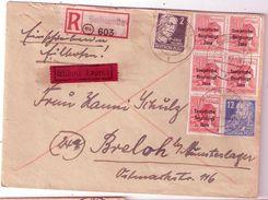 SALZWEDEL R Brief + Eilbote Expres 9.7.1949 Mischfrankatur N BRELOH Munsterlager 11.7.1949 Ankunft - Sowjetische Zone (SBZ)