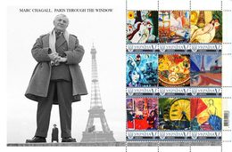 Ukraine 2017, France Painting, M. Chagall, Tour Eiffel, Sheetlet Of 9v - Ukraine