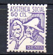 Viñeta  Nº 67  Asistencia Social Denia. - Verschlussmarken Bürgerkrieg