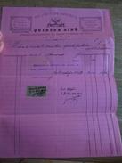 Facture Quinson Ainé Rue Longue Capucins Marseille 1893 Fontainier égouts Vicomtesse Nouaillan Ciment Timbre Fiscal - France