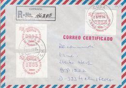 Cuba - Lettre Recom De 1984 - Oblit Habana - Salon Philatélique à Hambourg - ATM - Vignette D'affranchissement - Franking Labels