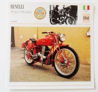 Fiche Technique MOTO Italie 1941 Benelli 250 Tipo 4 T-SS Elastico - Moto