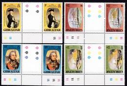 Gibraltar, 1980, 409/12, Lord Horatio Nelson, MNH **, GUTTER PAIR. - Gibraltar