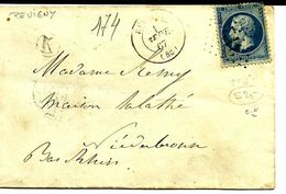 Enveloppe 20c Pevigny Pour Niederbronn  N°174 - 1863-1870 Napoléon III Lauré