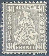 Sitzende Helvetia 50, 40 Rp.grau  (Abart)        1881 - 1862-1881 Sitted Helvetia (perforates)