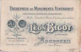 """Bg - Carte """"Entreprise De Monuments Funéraires"""" Léon Bigot à Bourgueil (Indre Et Loire) - Cartes De Visite"""