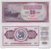 YUGOSLAVIA 20 Dinara 1974  UNC , P-85  Serial Number With Six Larger Numerals - Yougoslavie