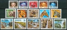 1978 Rhodesia Minerali Minerals Cascate Waterfalls Animali Animals Ordinaria Ordinary Set MNH** B47 - Minerals