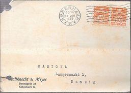 DENMARK DANEMARK DANMARK DINAMARCA TO DANZIG DANTZIG AN 1935 CARD FRANKING WITH COMMERCIAL PERFINS RARE - 1913-47 (Christian X)