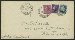 FRANKREICH 165,201,204 BRIEF, 1933, Schiffspostbrief Mit K2 GENOVA-NEW-YORK PIROSCAFO REX, In Die USA, Bedarfserhaltung - Frankreich