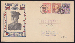 U.S.A. (1932) General Pershing.*  Fancy Cancel From Pershing Indiana.  Two Strikes In Black On Registered Letter.  Cance - Vereinigte Staaten