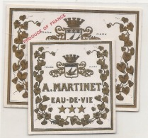 2 étiquettes Distillerie Martinet Eau De Vie - 1900/1920 - TTB - Whisky