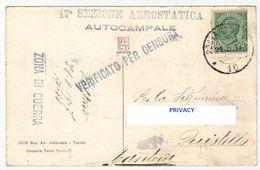 Cartolina Scena Cinema Muto - Spedita Posta Militare WWI WW1 Guerra 17° Sezione Aerostatica Autocampale 1917 SCOLLATA - 1900-44 Victor Emmanuel III