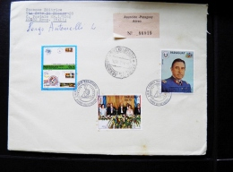 Cover From Paraguay Registered Asuncion 1974 Fdc Cancel Chile President Pinochet Stamp On Stamp Space Usa Apollo - Paraguay