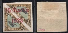 ESTLAND ESTONIA 1923 Michel 45 B II (Distance 2,.. Mm) WHITE PAPER AND GUM! RRR * Signed K. Kokk - Estland