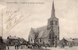 CPA    59  ELINCOURT---L'EGLISE, LA PLACE, LES ECOLES---1908 - Frankrijk