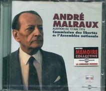 Cd  Coffret 1 Cd Neuf Sous Blister Andre Malraux Audition Du 12 Mai 1976 Comission Des Libertes A L'assemblee Nationale - Livres Parlés