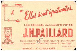 (D 7) Buvard écrire Peindre Déssiner  J M Paillard (coin Coupé) 18 X 11 - Blotters