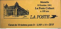 """FR - 1991 - CARNET 2712-C 1- Marianne De Briat Lettre D """"MARSEILLE, LA POSTE COLBERT A 100 Ans"""" 10 Timbres NEUFS** - Carnets"""