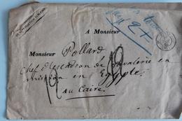 1866    ENVELOPPE PARTIE  DE  PARIS  POUR  LE  CAIRE  3  OBLITERATIONS  DIFFERENTES      5  PHOTOS - 1849-1876: Klassik