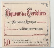 Liqueur Des Cordeliers Ancienne Abbaye De Marmovtiers Archanmeaud Frères Concessionnaires - Whisky