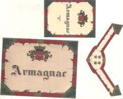 Ensemble De Trois étiquettes Générique Armagnac - - Whisky