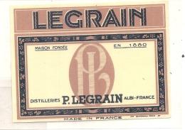 étiquette - Distillerie Legrain ALBI  étiquette à Repiquer - Whisky
