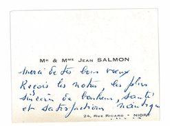 CARTE DE VISITE Mme ET Mr JEAN SALMON NIORT - Cartoncini Da Visita