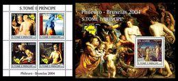 S. TOME & PRINCIPE 2004 - Nude Paintings - Mi 2687-90 + B526, YT 1962-5 + BF310 - Sao Tome En Principe