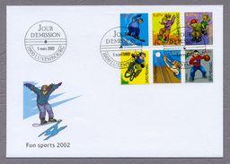 Luxembourg Luxemburg Fdc 2002 Fun Sports Funsport Snowboard BMX Streetball Rollerskate Skateboard Volleyball - Postzegels