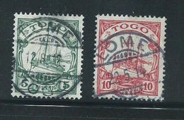 German Togo 1909 5 & 10 Pf. Watermarked Kaisers Yacht FU - Colony: Togo