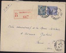 Recommandé Arc De Triomphe Mercure YT 538 Et 627 Vignette Chaumont RP 667 Haute Marne 6 11 1944 - Marcophilie (Lettres)