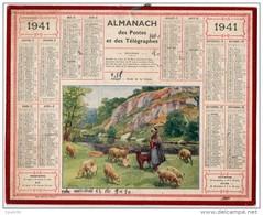 CALENDRIER GF 1941 - Almanach Des Postes - Bergère Au Bord De La Creuse; Imprimerie Oberthur - Calendriers