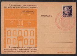 SOCIALISME - KARL MARX - POLITIQUE / 5 MAI 1947 FDC SUR CARTE ILLUSTREE (ref 3598a) - Célébrités