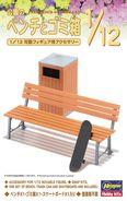 Park Bench & Trash Can 1/12 ( Hasegawa ) - Plastic Models